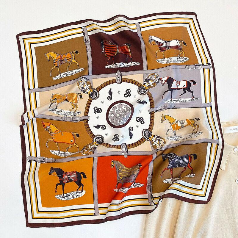 Luxury 100% Silk Scarf Women Fashion Small Bandana Horse Print Neck Hairband Square Headband Kerchief 53*53cm