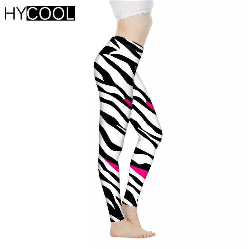 HYCOOL Leggings de moda para mujeres patrón de cebra 3D impreso femenino cómodo trajes de Fitness Push Up Lady Fitness Sportwear Pantalones