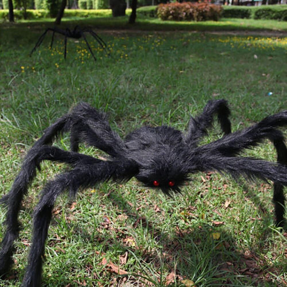 Horror araña gigante peluda decoración de Halloween 150cm araña Prop para Halloween casa embrujada fiesta calcomanías arte pegatina al aire libre