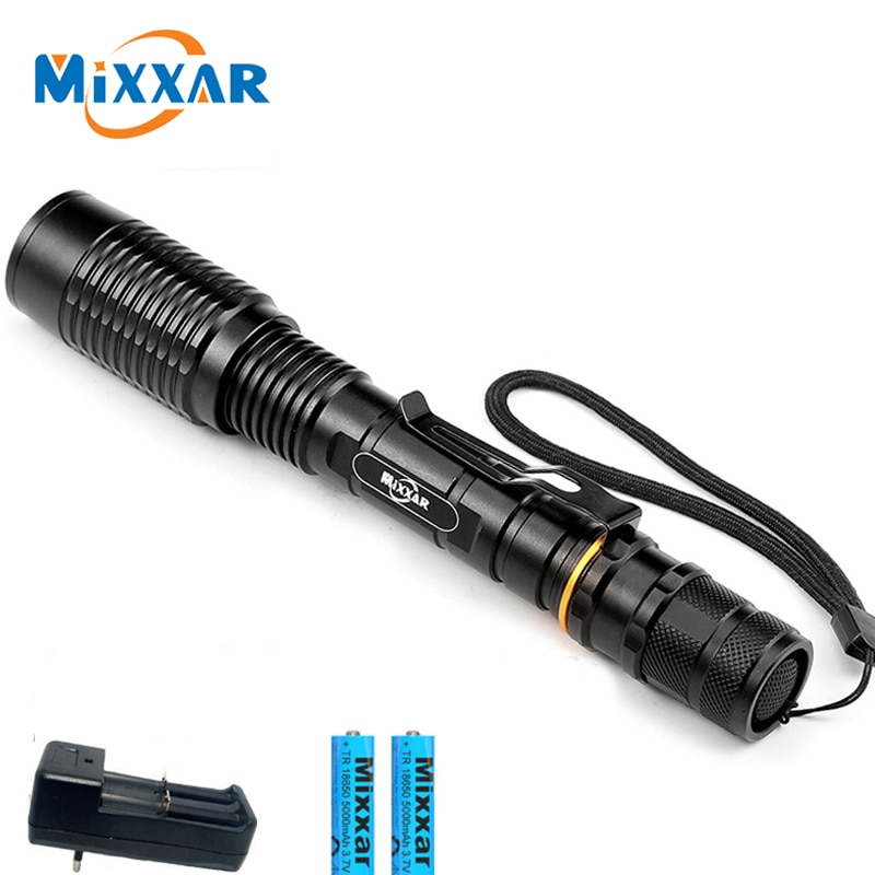 Super Leistungsstarke T6 Zoomable-led Taschenlampe 5-Modes taschenlampe Lanterna Lampe 2x18650 akkus + Ladegerät dropshipping