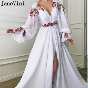 JaneVini White Prom Dresses 2020 Long Sleeves Embroidery Evening Dresses Vestido Sexy Woman Split Deep V-Neck Formal Party Gowns