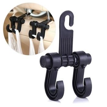 2 PCS Universal Auto Car Hook Seat Headrest Hanger Bag Hook Holder for Bag Purse Cloth Grocery Storage Auto Double Fastener Clip
