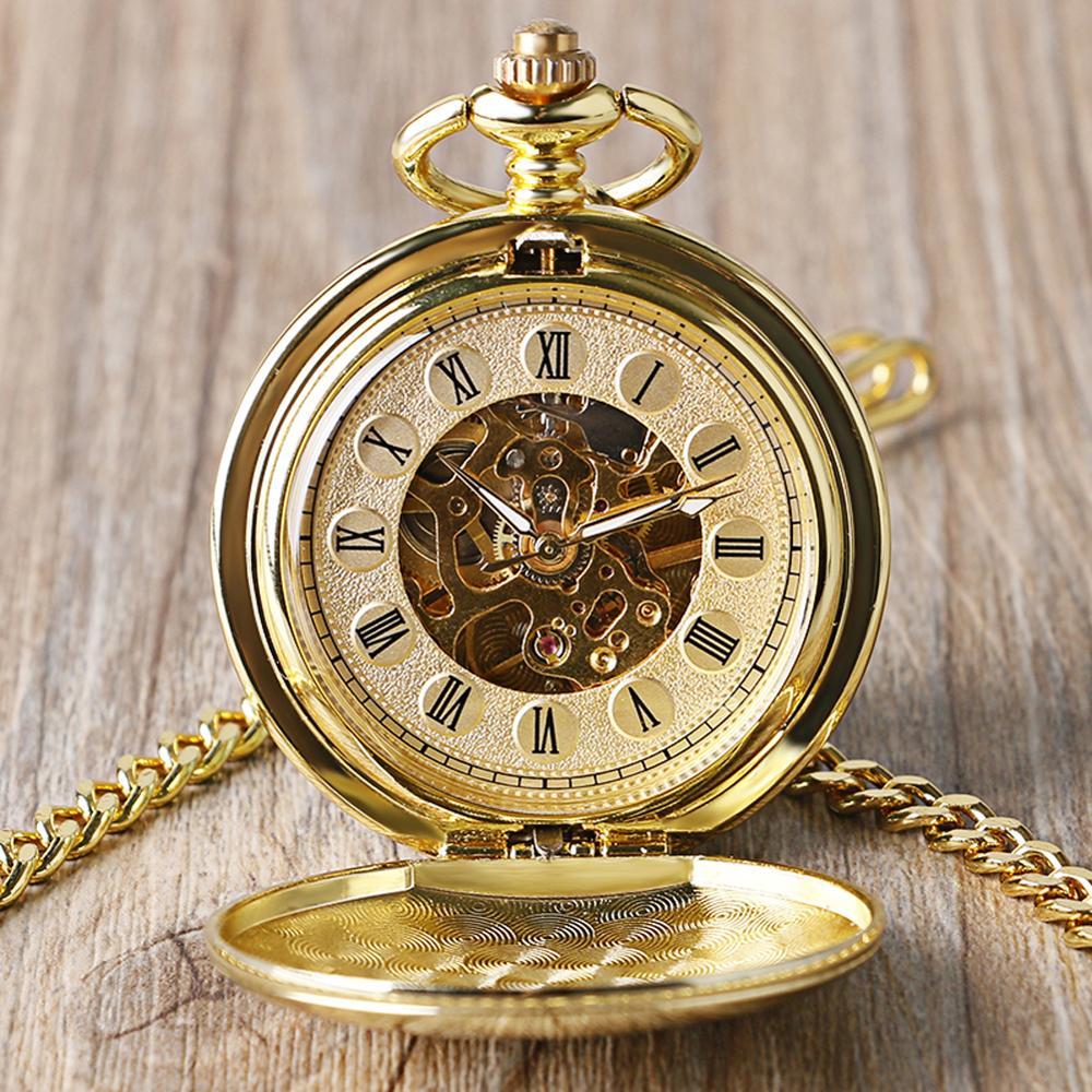 Reloj de bolsillo liso con esqueleto a Color dorado completo, reloj de cuerda a mano con números romanos mecánicos, relojes FOB para hombre y mujer, reloj doble abierto