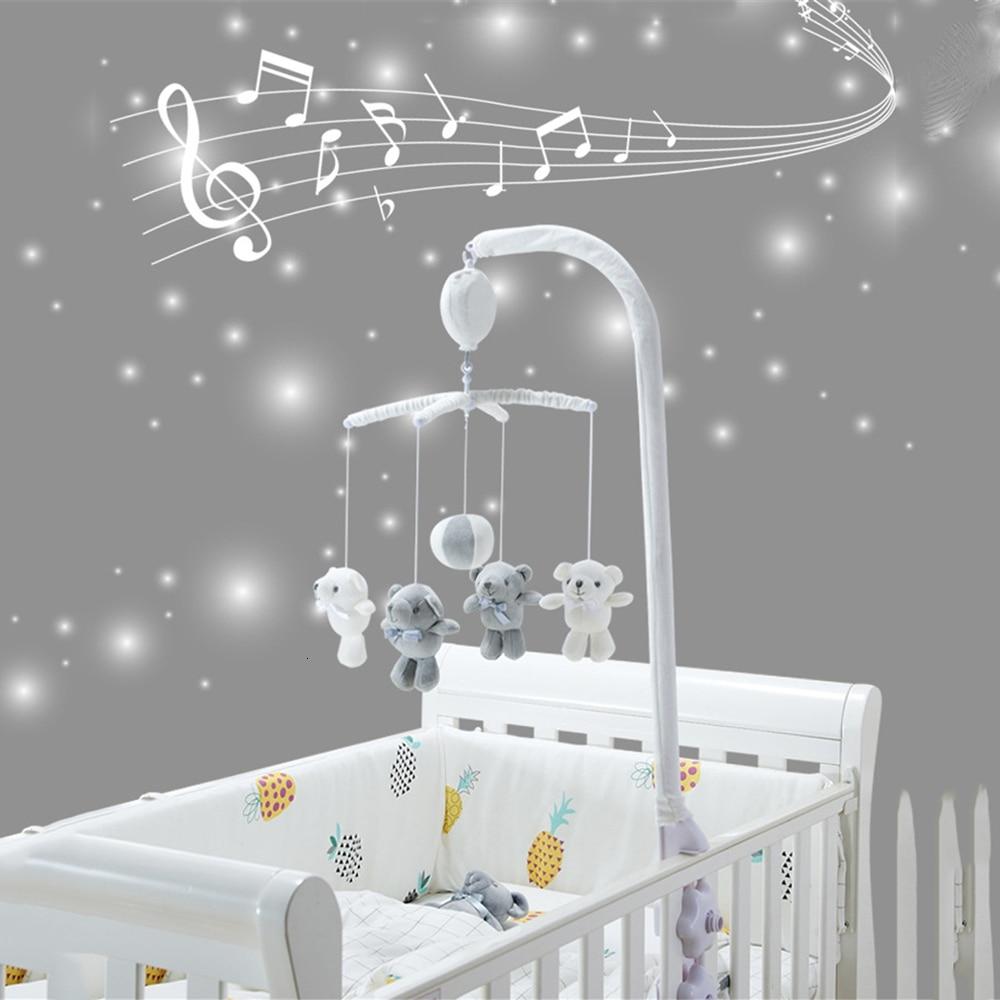 Sonajeros cómodos juguete cuna móvil Kit de soporte para sonajeros 13 Uds juguetes para infantes Control remoto caja de música de mecanismo cama de bebé campana de juguete