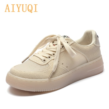 AIYUQI Sneakers Women 2021 Summer New Thick-soled Casual Student Board Shoes Women All-match Hollow Canvas Shoes Women