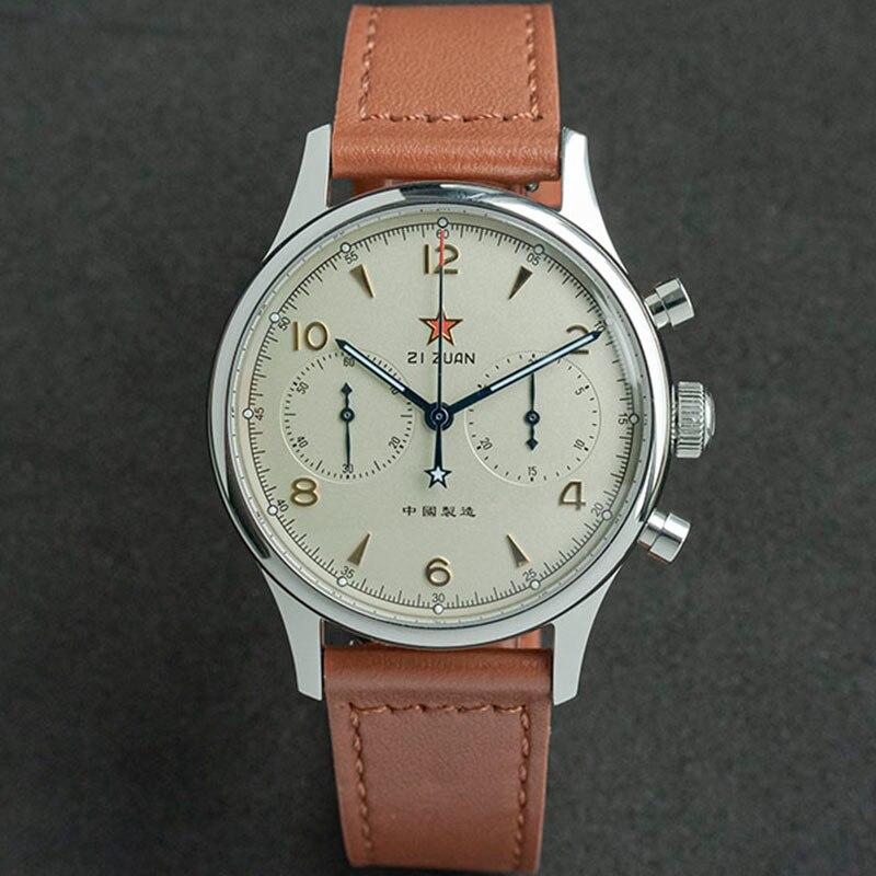 Chronograph Pilot Seagull Movement 1963 40mm Watch For Men Aviator st1901 Mechanical Military Watche