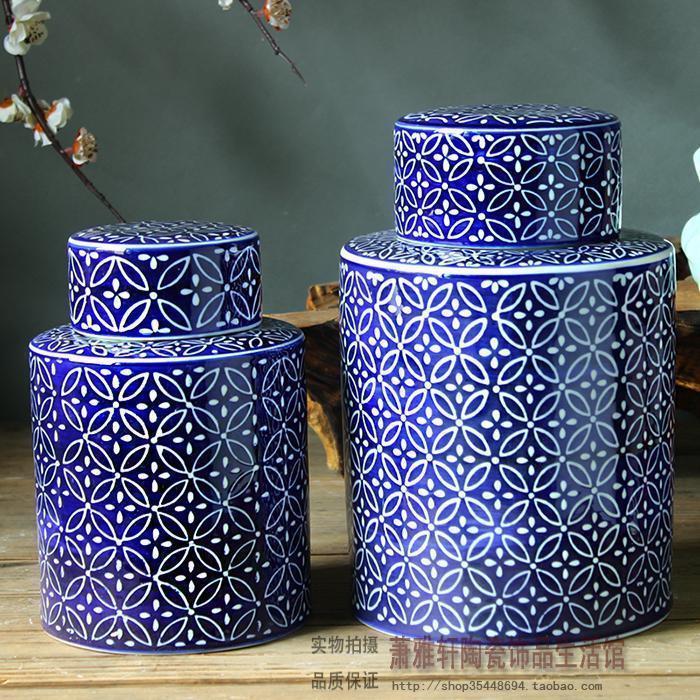 Tanque de almacenamiento de cerámica azul y blanco de la boda, olla decorativa, porcelana, olla redonda, nuevos adornos clásicos para el hogar, decoración