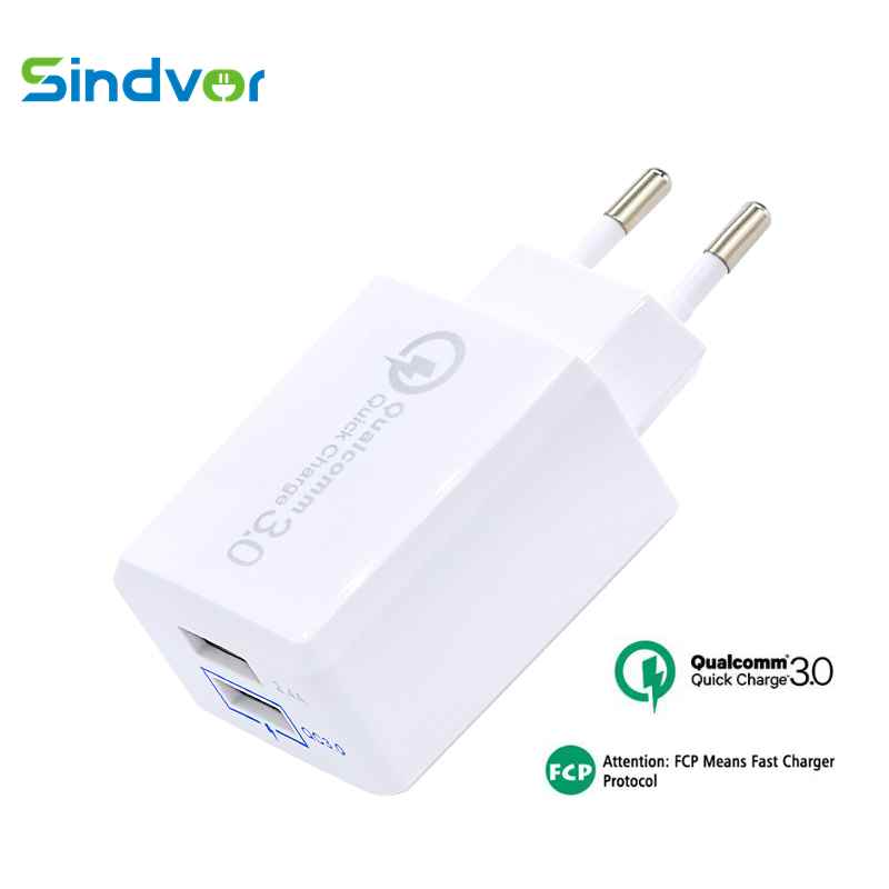Sindvor 30W de carga rápida 3,0 USB Dual del cargador del adaptador de la UE de pared QC3.0 rápido cargador de teléfono para iPhone 11 X Samsung S10 Xiaomi