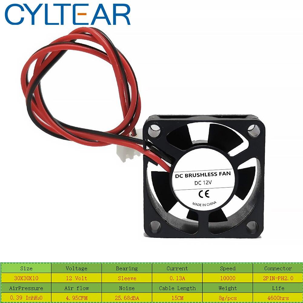 2PCS CYLTEAR Silence fan DC 24V 12V 5V 3cm 30mm 30x30x10mm 3010 Brushless Mini Cooler Cooling Fan enlarge