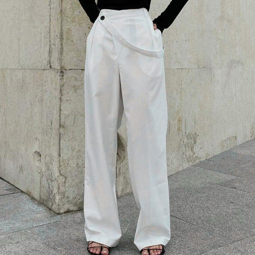 Женские свободные брюки с завышенной талией, повседневные Прямые Штаны белого цвета, на осень и зиму, 2021