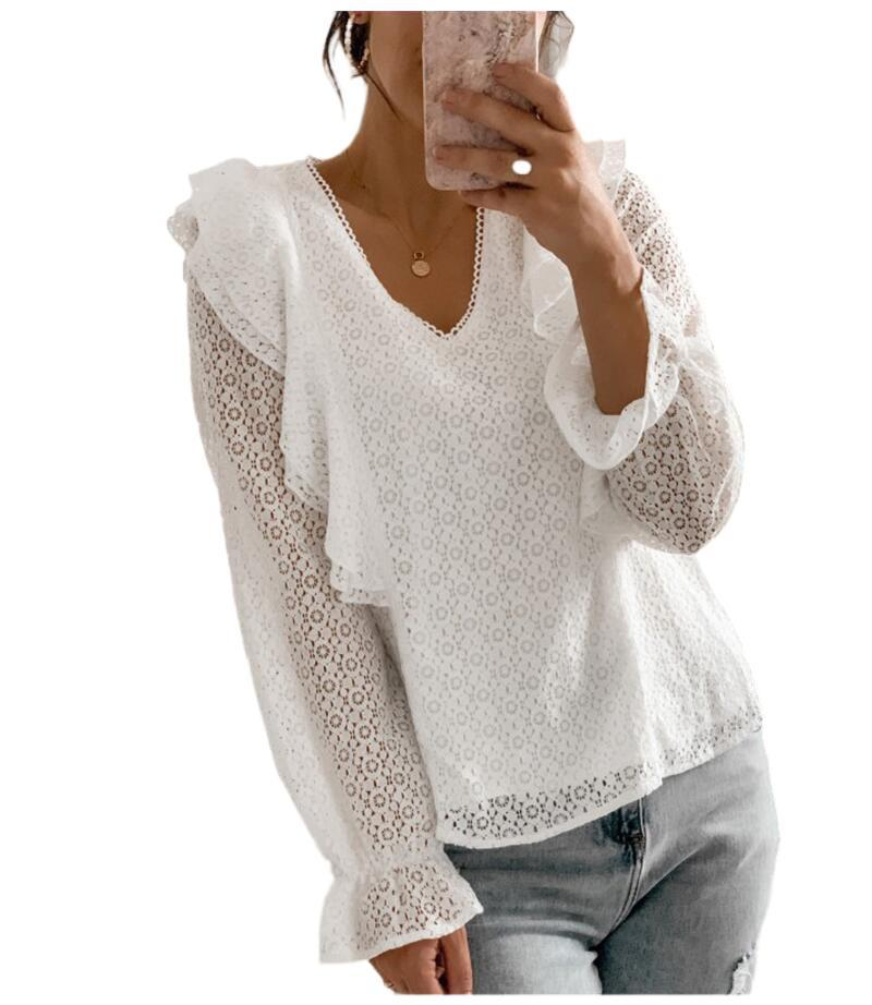 Spring urban casual women's V-neck hollow lace long-sleeved lace shirt