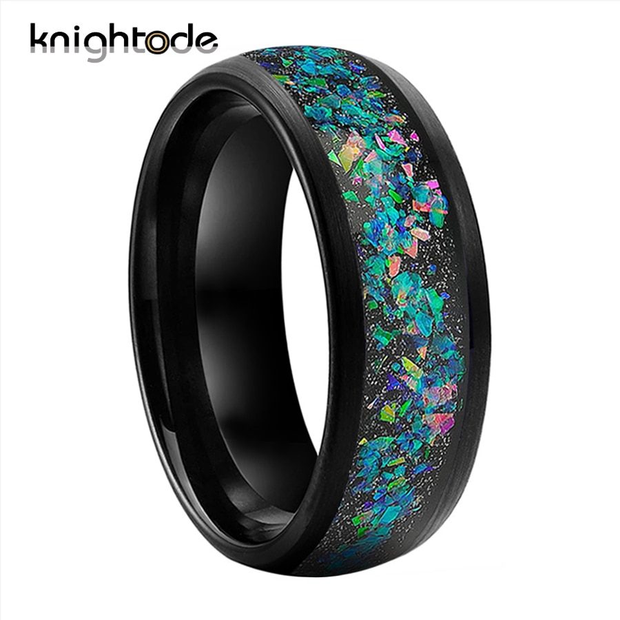 8mm Black Tungsten Carbide Ring Wedding Band Galaxy Crushed Opal inlay for Men Women Engagement Rings Brushed Finish Comfort Fit