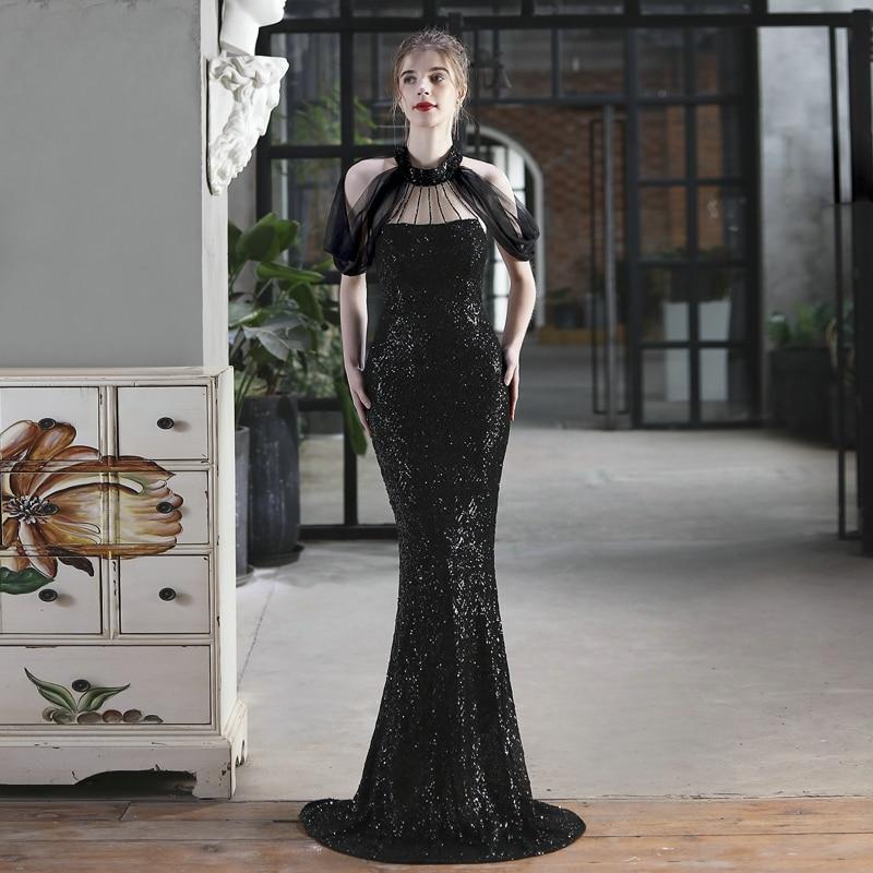 YIDINGZS Elegant Off Shoulder Evening Dress Black Sequin Dress Beads Dress For Women Party