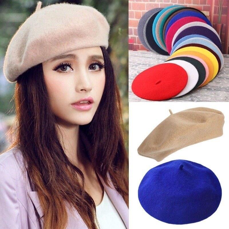 Women Girls Beret French Artist Warm Wool Winter Beanie Hat Retro Vintage Plain Beret Solid Color El