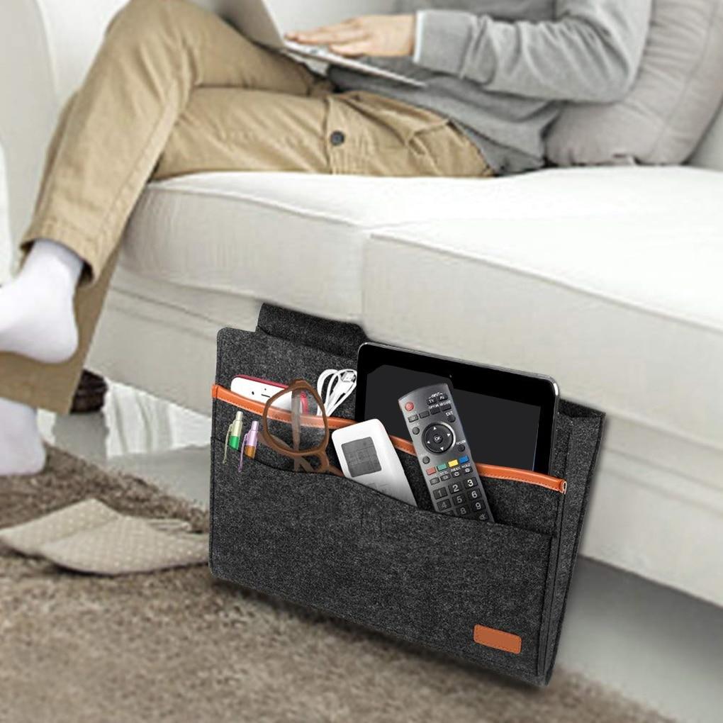 Felt Bedside Storage Bag Organizer Bed Desk Bag Sofa TV Remote Control Hanging Couch Storage Organiz