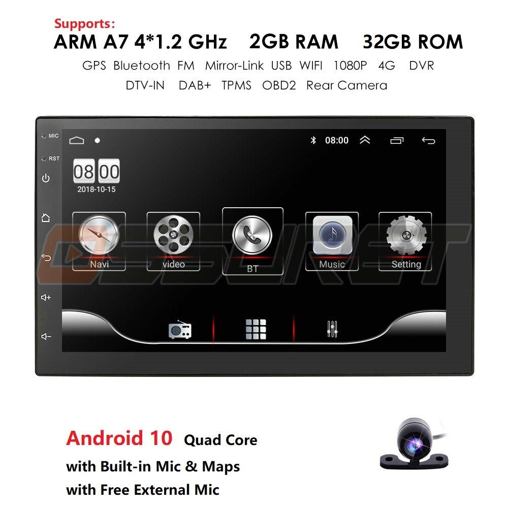 Hizpo 2 Din Car Radio Android Universal GPS Navigation Bluetooth Touchscreen Wifi Car Audio Stereo FM USB Car Multimedia DAB+Mic