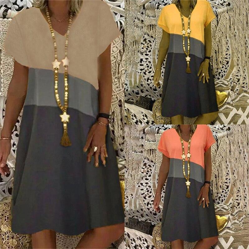 AliExpress - Vintage V-Neck Striped Party Dress Women Spring Summer Short Sleeve Dress Elegant Plus Size Patchwork Casual Dresses