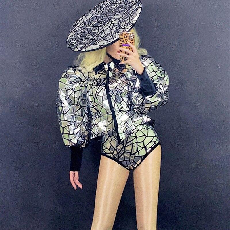 بدلة نسائية مثيرة بأكمام منفوخة ملابس رقص لعمود الراقصين ملابس أنثوية لمهرجان المغني ملابس المسرح DN9689