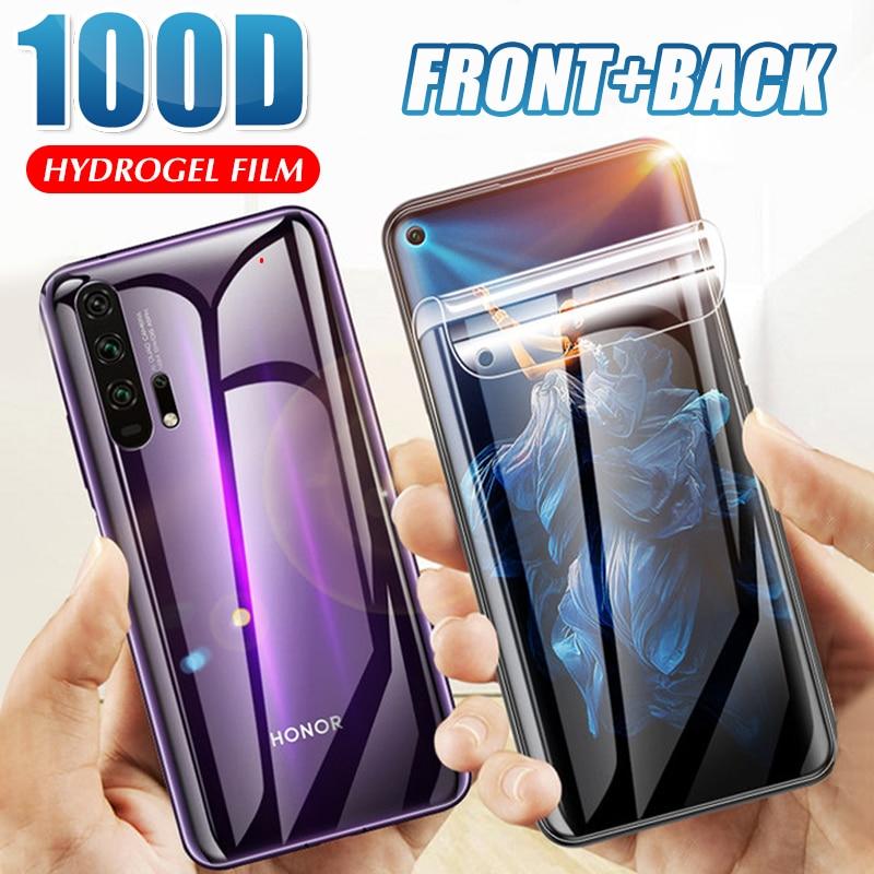 Protector de pantalla 100D para Huawei Honor 8x 9x 10i 9 10 Lite 20 Pro, película protectora de hidrogel, no cristal