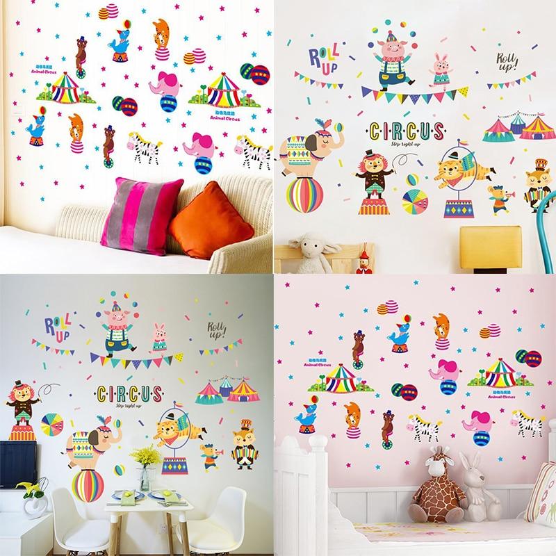 Rangefinder Circus Train Wall Stickers Children Room Home Decor Circus Vinyl Kids Room Decal Baby Room Nursery Decor