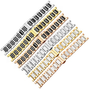 Concave Fine Steel +Ceramic Watchband Replacement Strap For Female's Watch Chain 14mm 16mm 20mm Give Tool