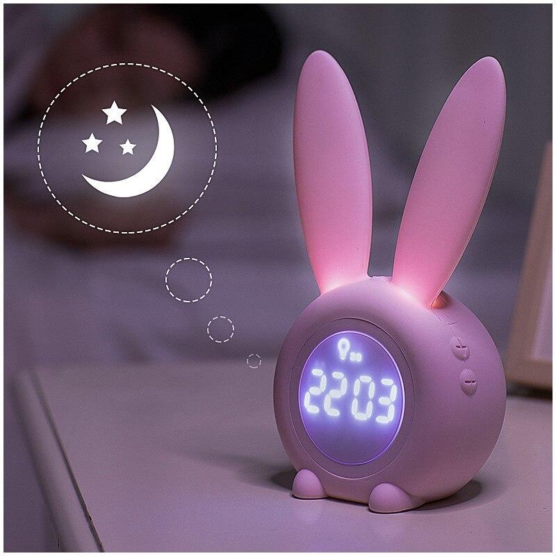 Reloj despertador Digital bonito con forma de conejo, con función de luz Led nocturna, carga USB, lámpara magnética de silicona de dibujos animados, Relojes de pared