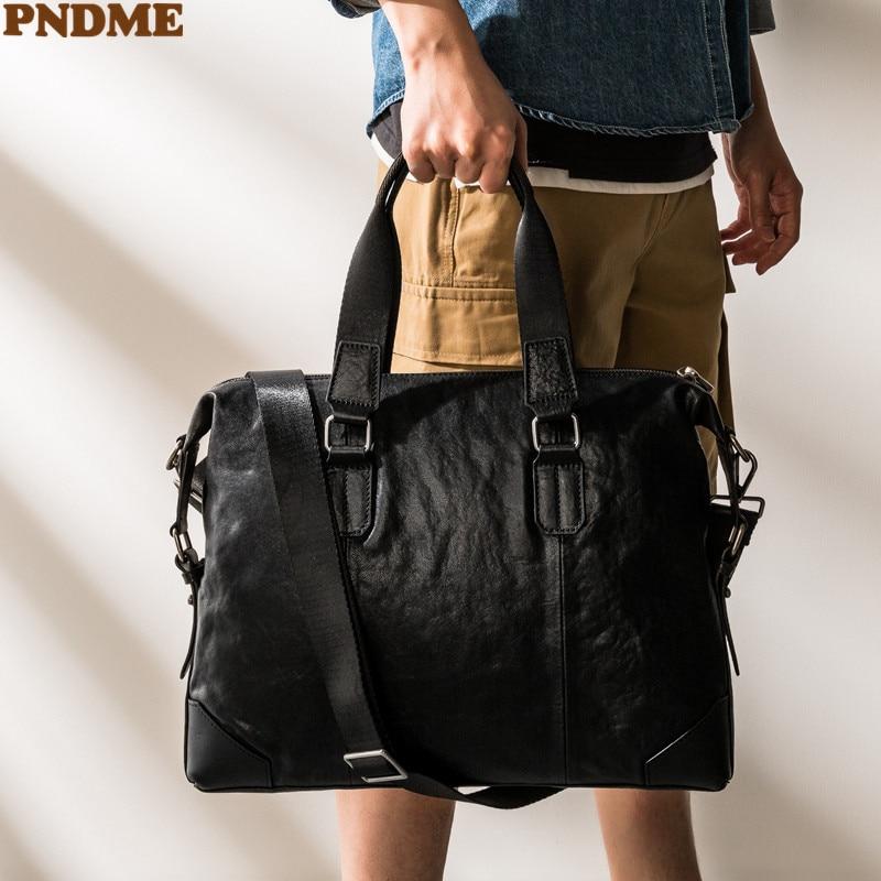 PNDME simple casual genuine leather men's black briefcase luxury natural real cowhide handbag women travel laptop messenger bag