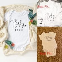 Baby Coming Soon 2022 Simple Print Baby Bodysuit Pregnancy Announcement Boys Girls Bodysuit Toddler