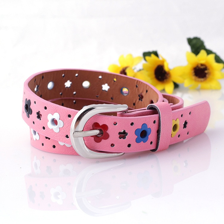 Hollow Flower Waistband Faux Leather Belt Silver Buckle KIDS CHILDREN BOYS GIRLS Neutral / Both Men and Women Imitation Leather fashionable rhombic pattern buckle faux leather belt for men