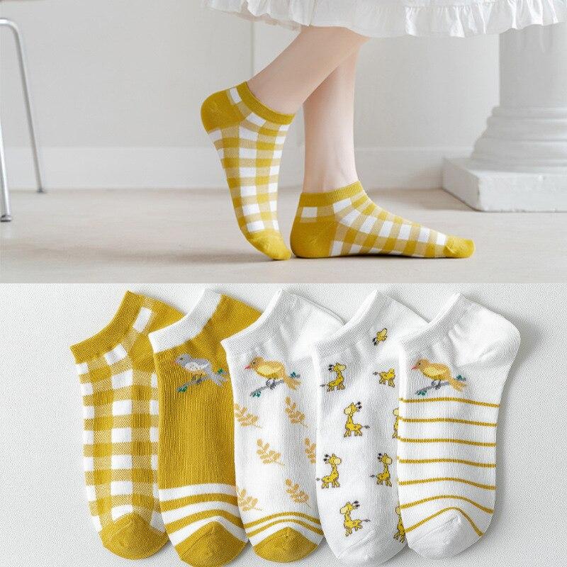 Sokken Vrouwelijke Ondiepe Mond Lente En Zomer Dunne Cartoon Leuke Giraf Korte Sokken Japanse Dames Boot Sokken Ins Tij