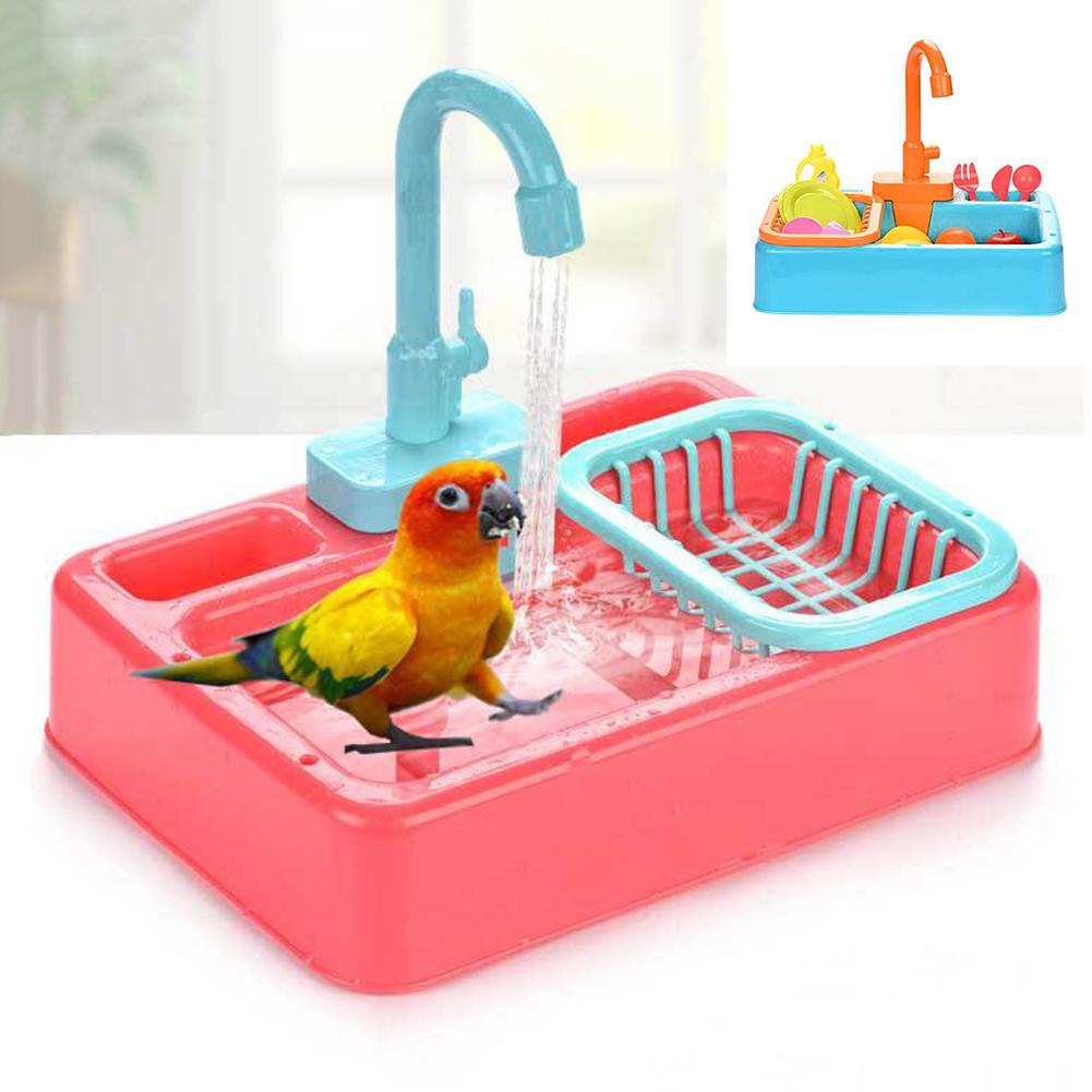 Parrot Automatic Bathtub with Faucet Shower Bathing Tub Cage Clean Feeder Tool Automatic Parrot Bath
