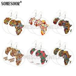 Africa Mapa Africano Madeira Brincos Afro Poder Provérbios Ambos Impresso Madeira Jóias Presentes Para Mulheres