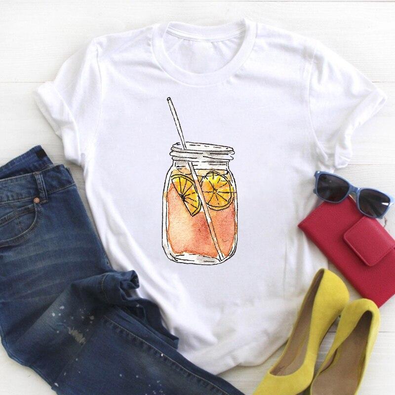Women Cartoon Watercolor Orange Painting Style Print Summer T Tee Ladies Female Top Shirt Clothes Tshirt Womens Graphic T-shirt