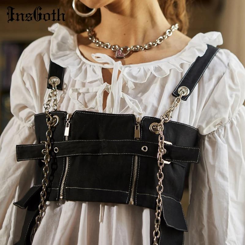 InsGoth bolsillo negro Camiseta de tirantes vaquera Tops mujeres Punk gótico Cadena de retales con cremallera Bodycon mujer Camis Tops Harajuku Streetwear Tank