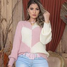 Women's Autumn New Sweater Fashion Girl Cute Trend Style Lantern Sleeve Round Neck Stitching Contras