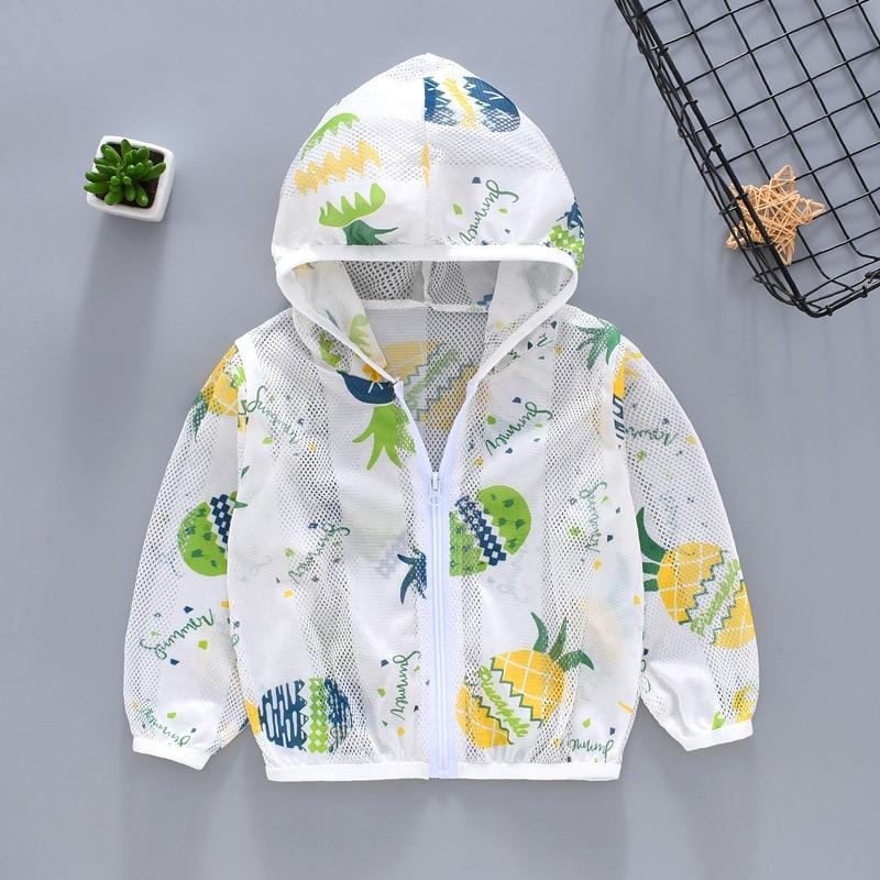 Crianças do bebê uv proteção solar roupas para meninos meninas verão casaco fino fresco respirável crianças com capuz infantil jaqueta