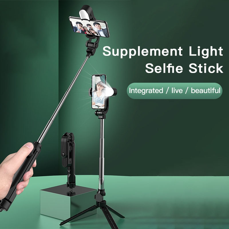 XT05 4 in 1 Wireless Bluetooth Selfie stick Foldable Mini Tripod Expandable Monopod with Remote Control for iPhone IOS Android