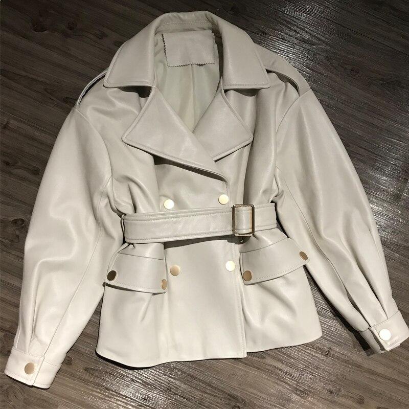 Mulheres jaqueta de couro puro estilo de saia com cinto de couro real moda doce streetwear feminino