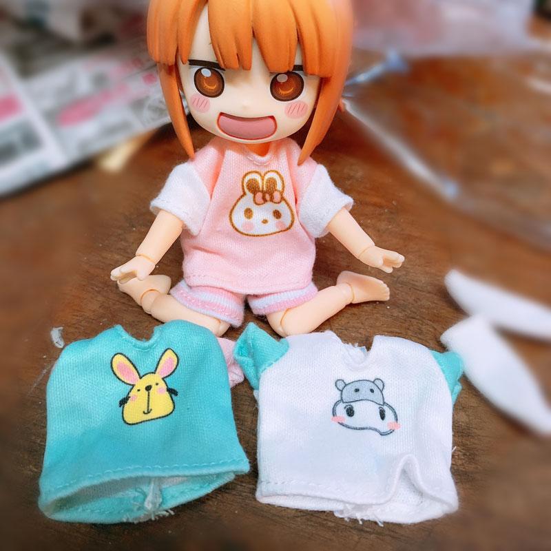 Chaqueta de Camiseta con estampado informal OB11, velcros para bebé 1/12 BJD, bonito nudo, cerdo, ropa para muñeca, accesorios