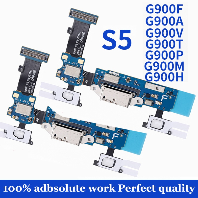 Replacement Charging Flex Cable for Samsung Galaxy S5 G900F G900A Microphone MIC USB Charging Port S
