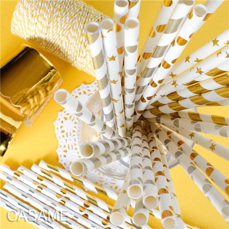 25/50/100 pces palhas de papel rosa folha de ouro palhas de papel listra dot misturado aniversário decoração casamento convites festa favores