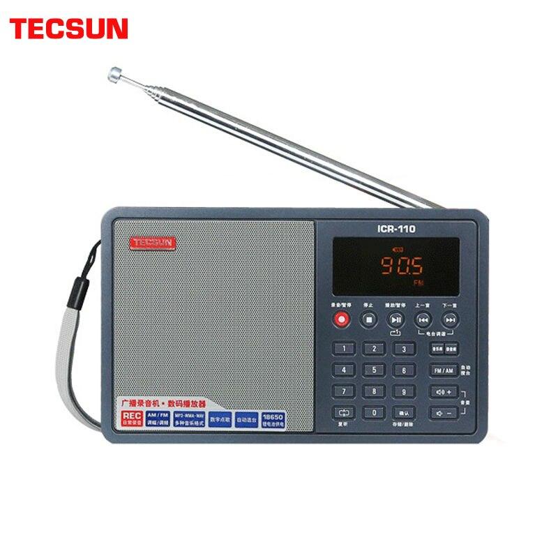 Tecsun ICR-110 Radio FM/AM lecteur MP3 enregistreur âgé numérique audio Portable semi-conducteur boîte de son soutien TF carte livraison gratuite