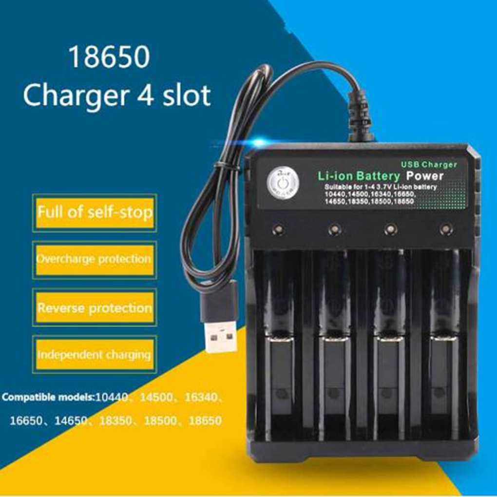 Battery Charger 18650 Lithium-Ion Rechargeable Battery Charger 4 Slots Cell Charging Adapter