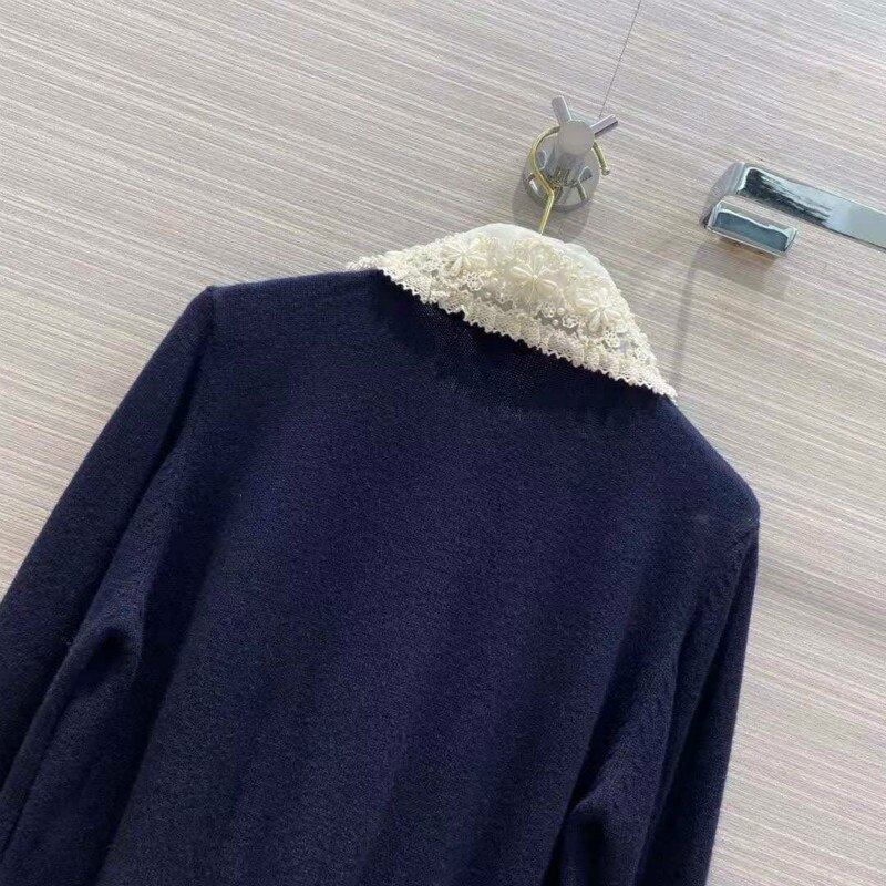 European and American Sweater Winter Temperament Commuting Cardigan Slim Long Sleeve Lapel Knitted Single Breasted Sweater enlarge
