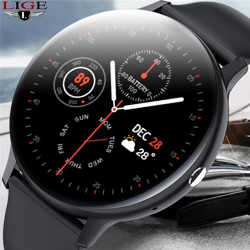 LIGE جديد 2021 ساعة ذكية الرجال كامل شاشة تعمل باللمس الرياضة اللياقة البدنية ساعة IP67 مقاوم للماء بلوتوث ل أندرويد ios smartwatch رجالي