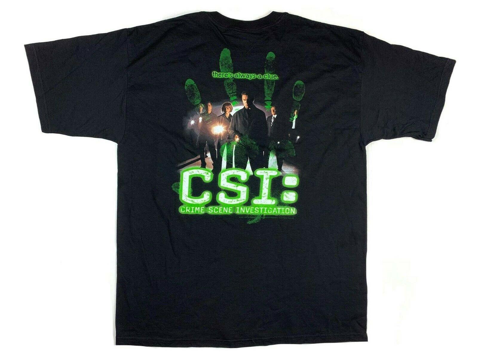 2001 Csi место происшествия исследование ТВ шоу промо футболка с тегами Xl подходит Xxl