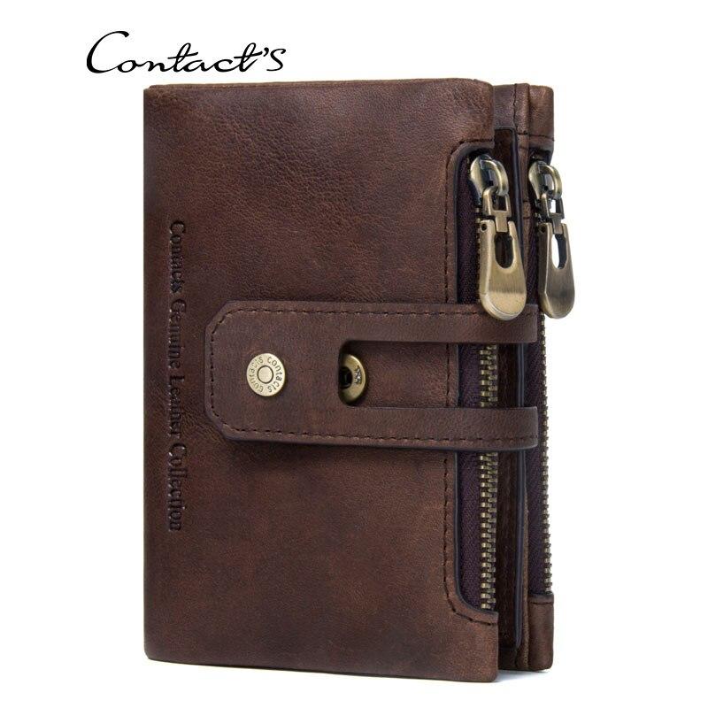 Double Zipper Buckle Leather Men Wallet Retro Crazy Genuine Leather Men's Bag Casual Coin Purse Male