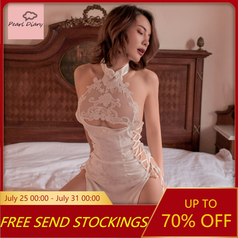Sexy Lingerie Sexy Water-Soluble Openwork Lace-Up Pajamas Jacquard Satin Hot Temptation Nightgown