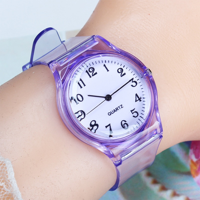 2020 New Fashion Female Male Wristwatches Lovers Men Women Watches Transparent Candy Color Plastic B