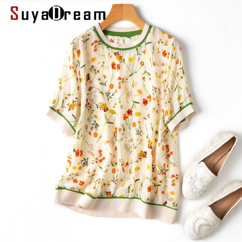 Suyadream Woman Floral Summer Blouses 100%Silk Crepe O Neck Short Sleeves Printed Blouse Shirts 2021 Top